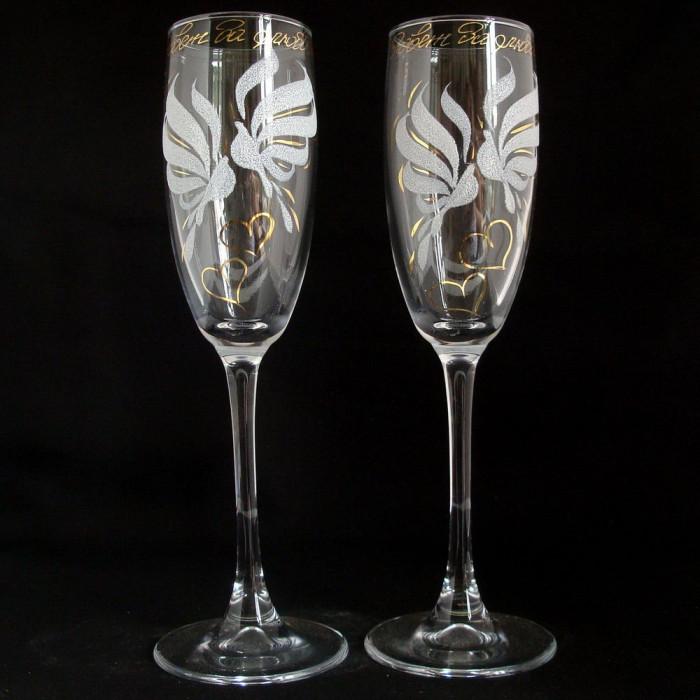 Купить свадебные бокалы оптом, купить свадебные фужеры из Гусь