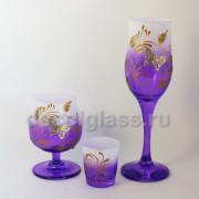 Бокал+бренди+стопка (фиолетовый)