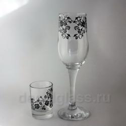 Набор Бокалов и стопок (роза)