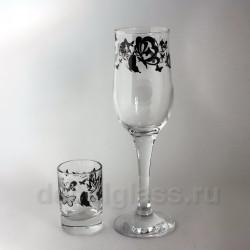 Набор Бокалов и стопок (мотыльки)