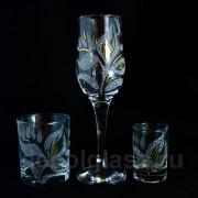 Бокал + стакан + стопка (лилия)