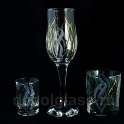 Бокал + стакан + стопка (костер)